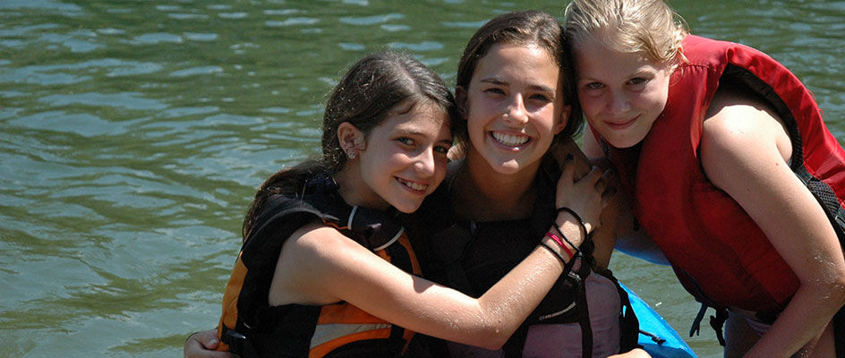 Girls Kayakers with Counselor