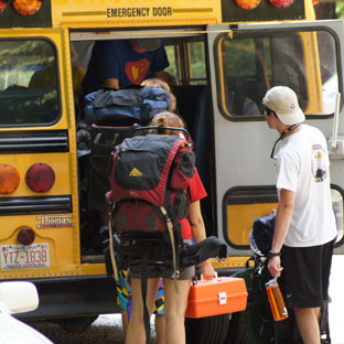 Highlander campers and counselors load up for a hiking trip in the mountains of western North Carolina