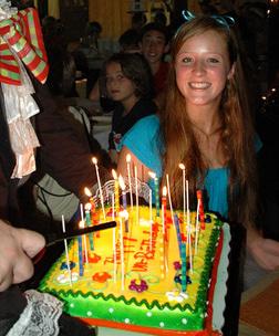 A camper celebrates her birthay at Camp Highlander