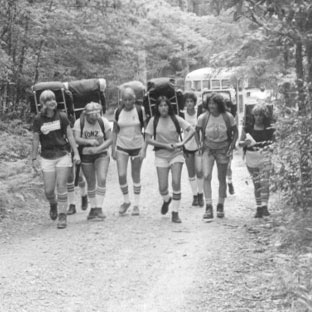 An old picture of boys hiking in the forests of western North Carolina